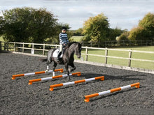 Load image into Gallery viewer, Horse and rider trotting over 4 5 Band Poles Orange and White red PolePods.