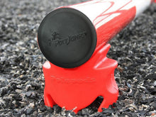 Load image into Gallery viewer, End Cap of Pole showing the embosses PolyJumps logo. Pole is sitting on a Red PolePod.