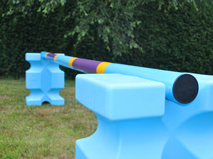Photo of a Club Style Pole on the Baby Blue PolyJump Blocks.
