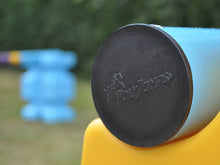 Load image into Gallery viewer, Close up photograph of the end cap on a practice pole. PolyJump Logo embossed onto the cap.