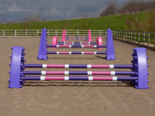 Load image into Gallery viewer, 4 fences, from front to back: 1 pair of purple Hedgehogs with 3 Pro Poles, 9 Band coloured: Purple, White & Pink. 1 pair of Purple 8 Cups with 2 more poles. 1 pair of Pink Hedgehog Jumps with 3 Poles and 1 set of Pink 8 Cups with 2 more Pro Poles.