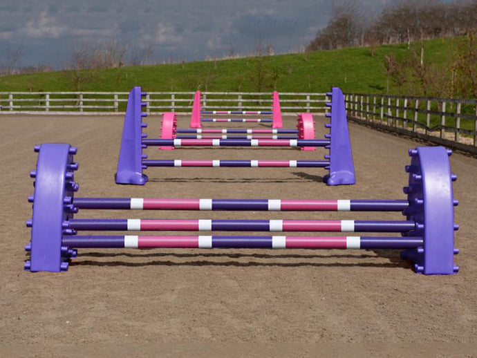4 fences, from front to back: 1 pair of purple Hedgehogs with 3 Pro Poles, 9 Band coloured: Purple, White & Pink. 1 pair of Purple 8 Cups with 2 more poles. 1 pair of Pink Hedgehog Jumps with 3 Poles and 1 set of Pink 8 Cups with 2 more Pro Poles.