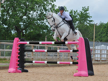 Load image into Gallery viewer, Horse jumping over 2 pairs of Black and Pink 8 Cups with 3 9 band Pro Poles coloured: Pink, White & Black.