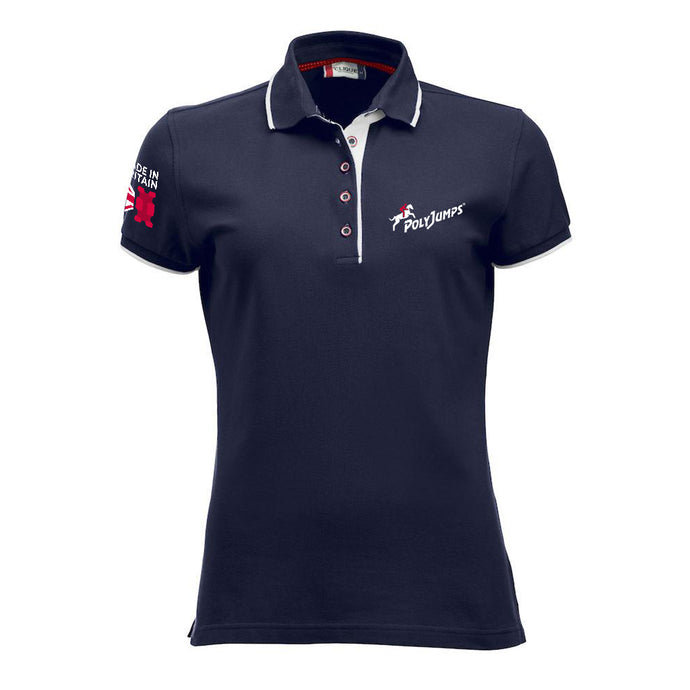Women's Navy Poloshirt with white contrast trim on sleeves, around and under the collar. PolyJumps Logo on wearer's left chest. Made in Britain PolyJumps Logo on right shoulder.