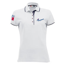 Load image into Gallery viewer, Women's White Poloshirt with Navy Blue contrast trim on sleeves, around and under the collar. PolyJumps Logo on wearer's left chest. Made in Britain PolyJumps Logo on right shoulder.