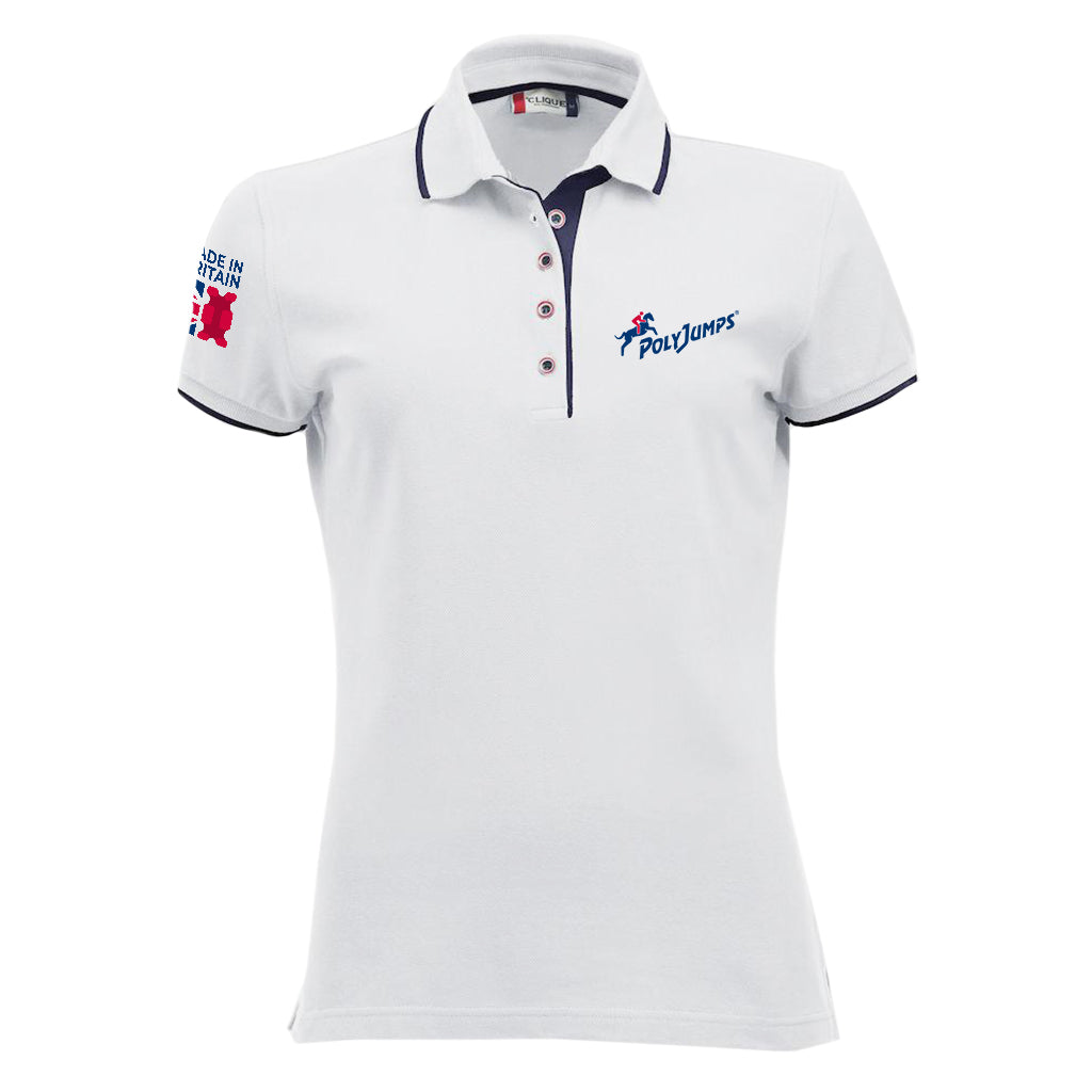 Women's White Poloshirt with Navy Blue contrast trim on sleeves, around and under the collar. PolyJumps Logo on wearer's left chest. Made in Britain PolyJumps Logo on right shoulder.