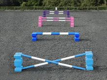 Load image into Gallery viewer, 4 rows of jumps. From front to back is a baby blue pair of PolyJump Blocks with 2 5 band baby blue and white poles. Behind that fence is the same in blue. Then a pair of pink MultiJumps with 2 pink and white 5 band poles. Finally a pair of purple MultiJumps with purple and white poles.