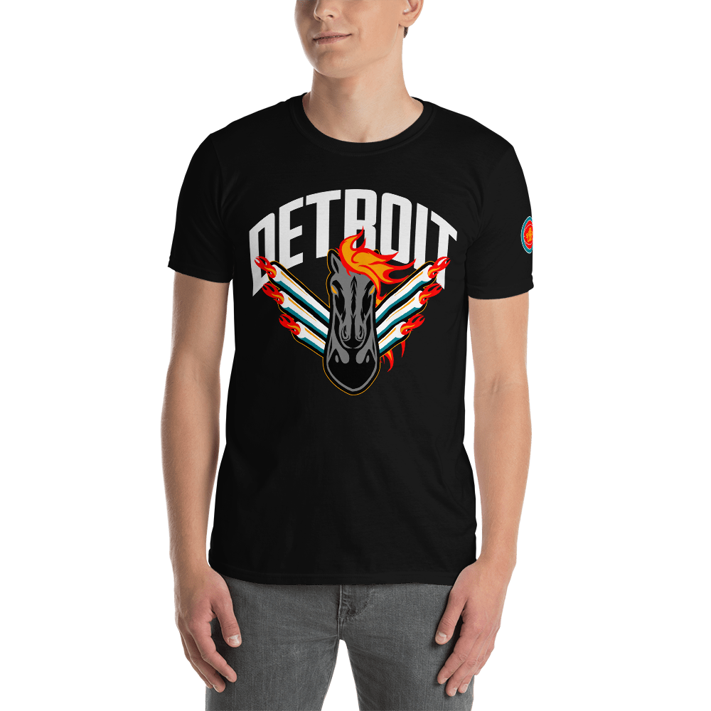 Detroit Retro Black Horse Short-Sleeve T-Shirt