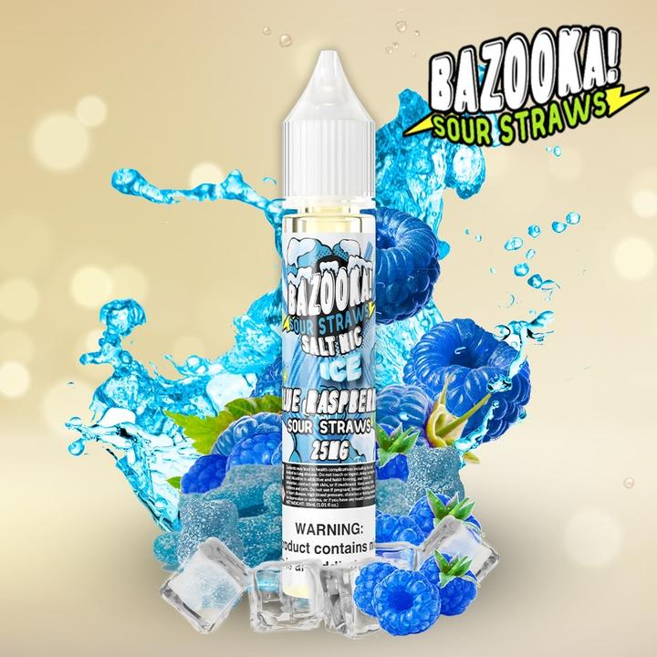 BAZOOKA SALTNIC - ICE BLUE RASPBERRY SOUR STRAWS  VapeNation.pk Vape Pakistan