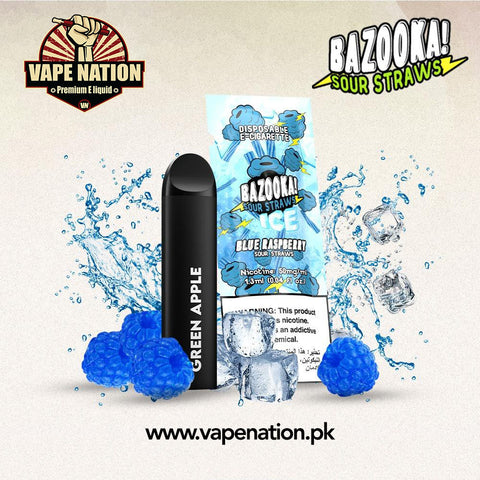 Bazooka Sour Straws Disposable Pods - Blue Raspberry ICE  VapeNation.pk Vape Pakistan