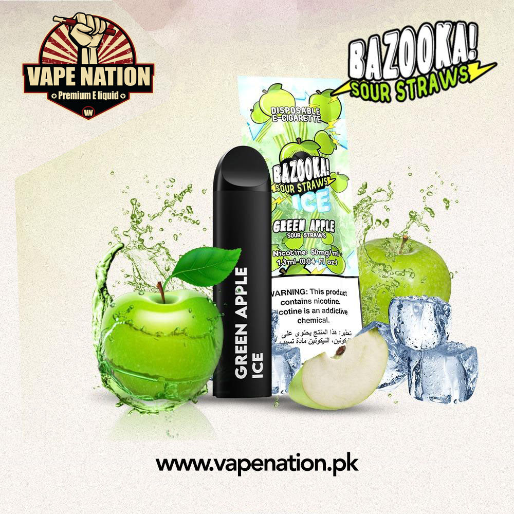 Bazooka Sour Straws Disposable Pods - Green Apple ICE  VapeNation.pk Vape Pakistan