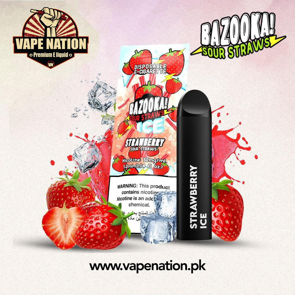 Bazooka Sour Straws Disposable Pods - Strawberry ICE  VapeNation.pk Vape Pakistan