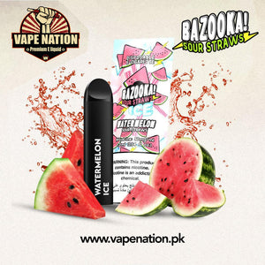 Bazooka Sour Straws Disposable Pods - Watermelon ICE  VapeNation.pk Vape Pakistan