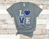 Deep Heather Grey Bella Canvas t-shirt with royal blue and white print.