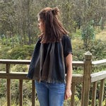 Load image into Gallery viewer, reversible alpaca scarf, alpaca accessories, thick wool scarf, black alpaca scarf