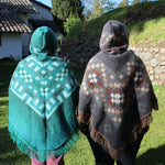 Load image into Gallery viewer, alpaca tribal poncho, turquoise alpaca fur poncho, alpaca products, wholesale alpaca poncho, native print poncho