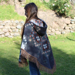 Load image into Gallery viewer, native print alpaca poncho, hooded alpaca poncho, festival poncho, hooded alpaca poncho, fringe alpaca poncho