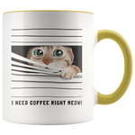 I Need Coffee Right Meow Peeking Cat Coffee Mug