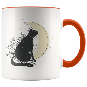 Moon Cat Floral Boho Coffee Mug (11oz)