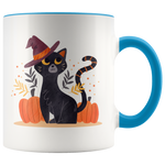 Cute Black Cat with Witch Hat Halloween Coffee Mug