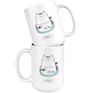 Pisces Cat Coffee Mug, 11oz-15oz