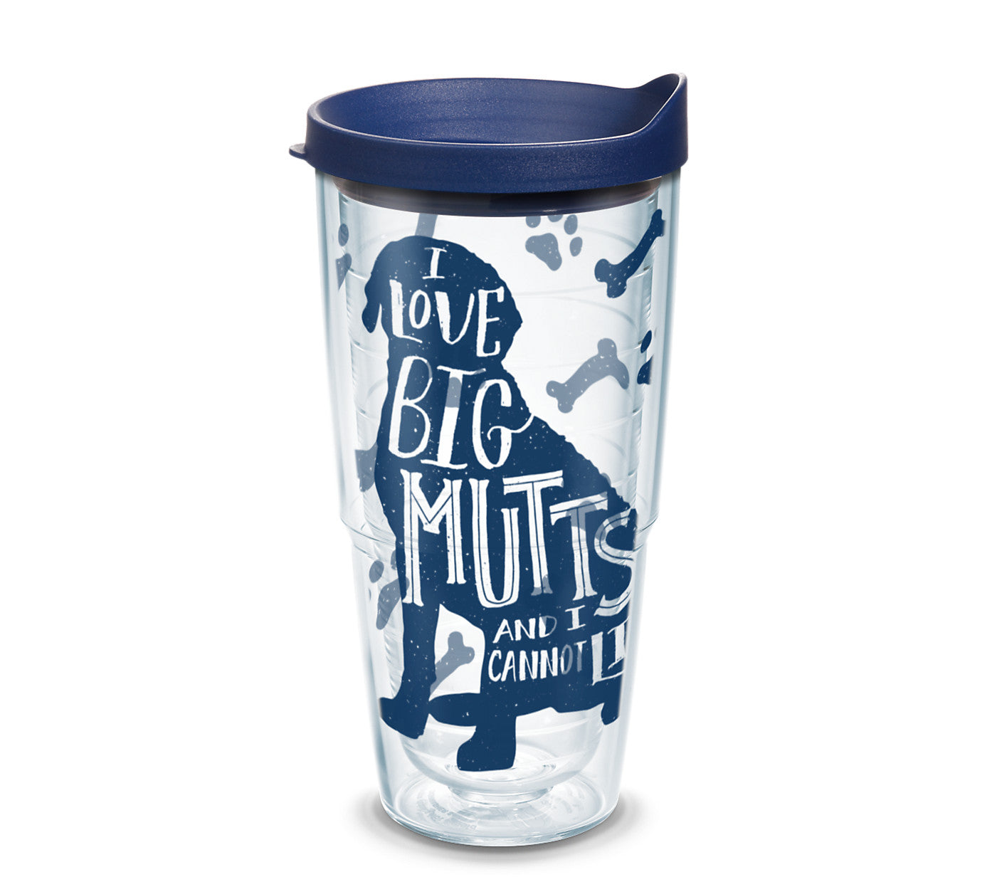 'I Love Big Mutts and I Cannot Lie', 24 oz. Tumbler with navy lid