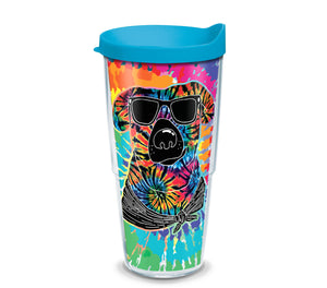 Tie Dye Dog with Sunglasses 24 oz. Tumbler with turquoise lid