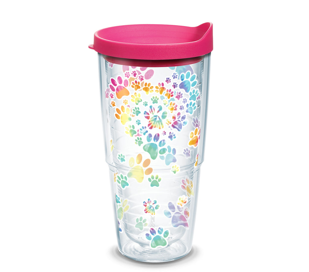 Tie Dye Paw Heart 24 oz. Tumbler with fuchsia lid