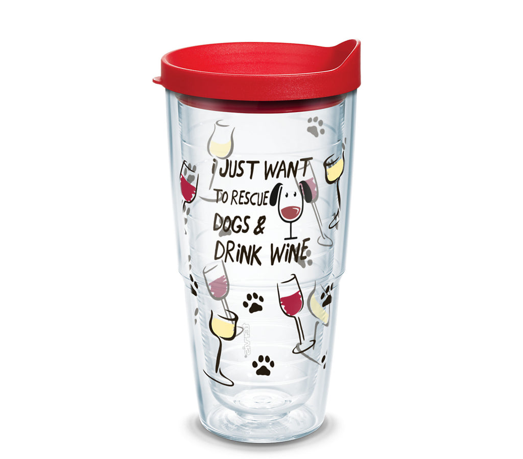 'I Just Want to Rescue Dogs & Drink Wine', 24 oz. Tumbler with red lid