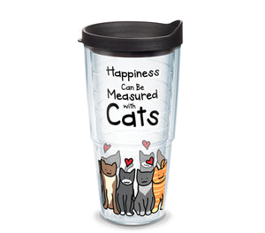 'Happiness Can Be Measured With Cats', 24 oz. Tumbler with black lid
