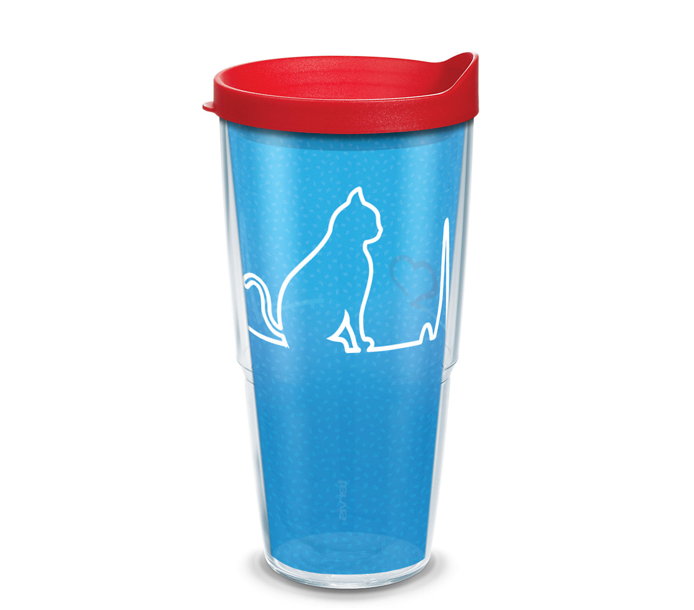 Cat Heartbeat 24 oz. Tumbler with red lid