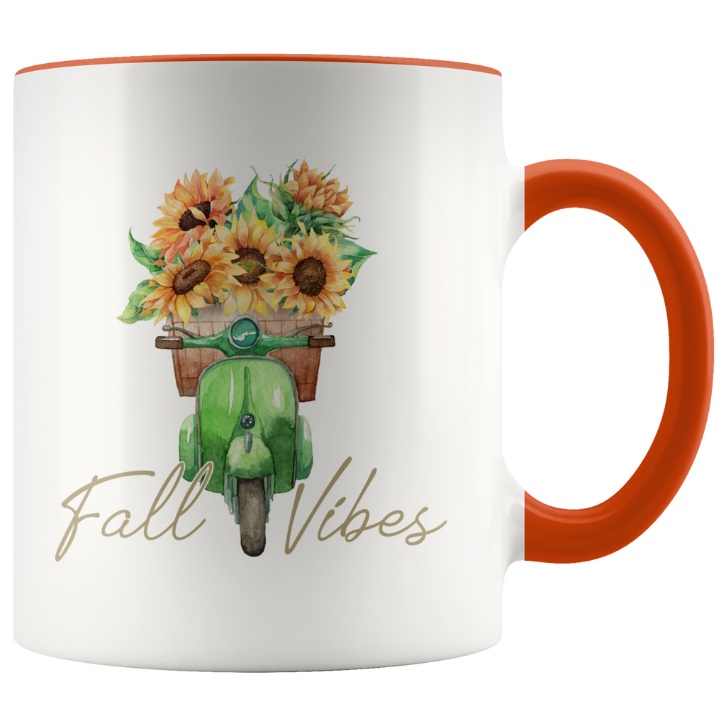 Fall Vibes Pumpkin Flowers Green Motorcycle Mug