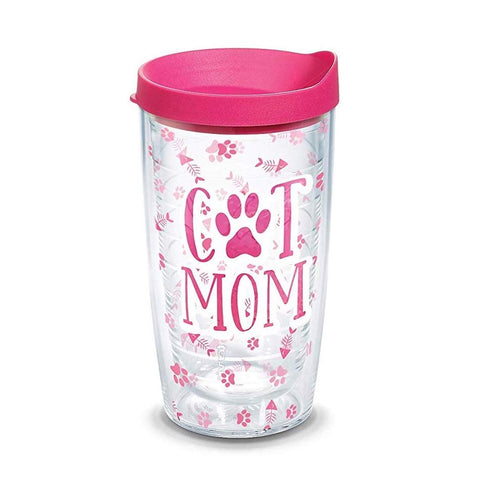 Cat Mom 16 oz Tumbler with lid, Clear