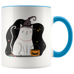Cute Witch Cat In The Halloween Night Coffee Mug (11oz)