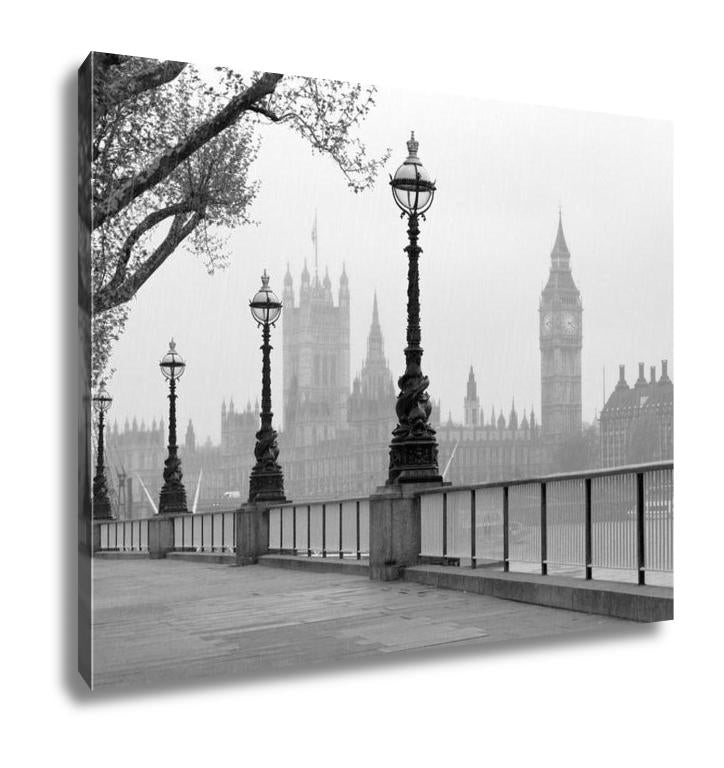Gallery Wrapped Canvas, Big Ben Houses Of Parliament Black And White Photo