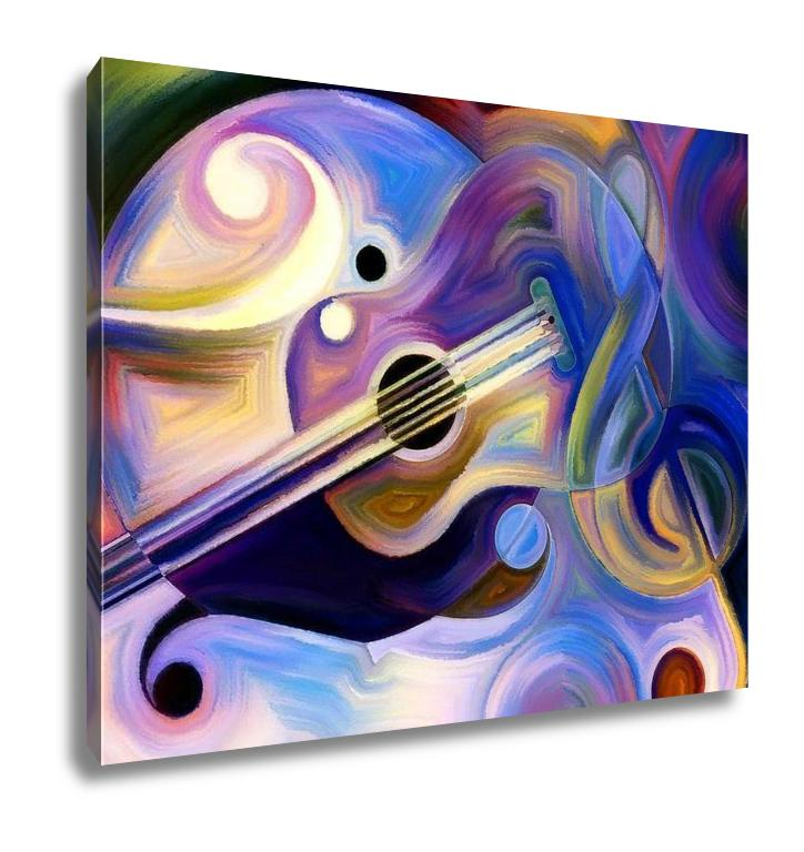 Gallery Wrapped Canvas, Abstract Painting On Subject Of Music And Rhythm