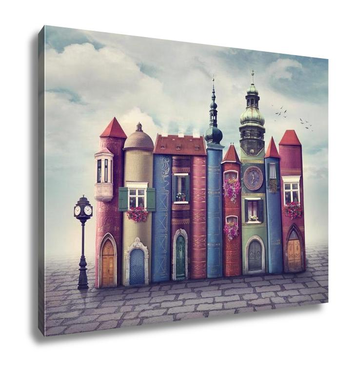 Gallery Wrapped Canvas, Surrealism Magic City With Old Books