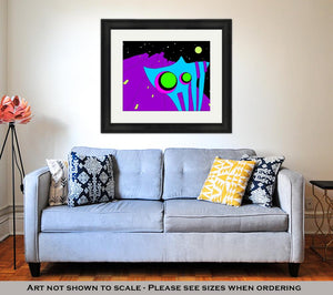 Framed Print, Cartoon Cat Illustration With Psychedelic Cat Enjoying Night City Trippy Doodle