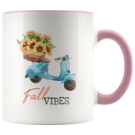 Fall Vibes Pumpkin Flowers Motorcycle Mug
