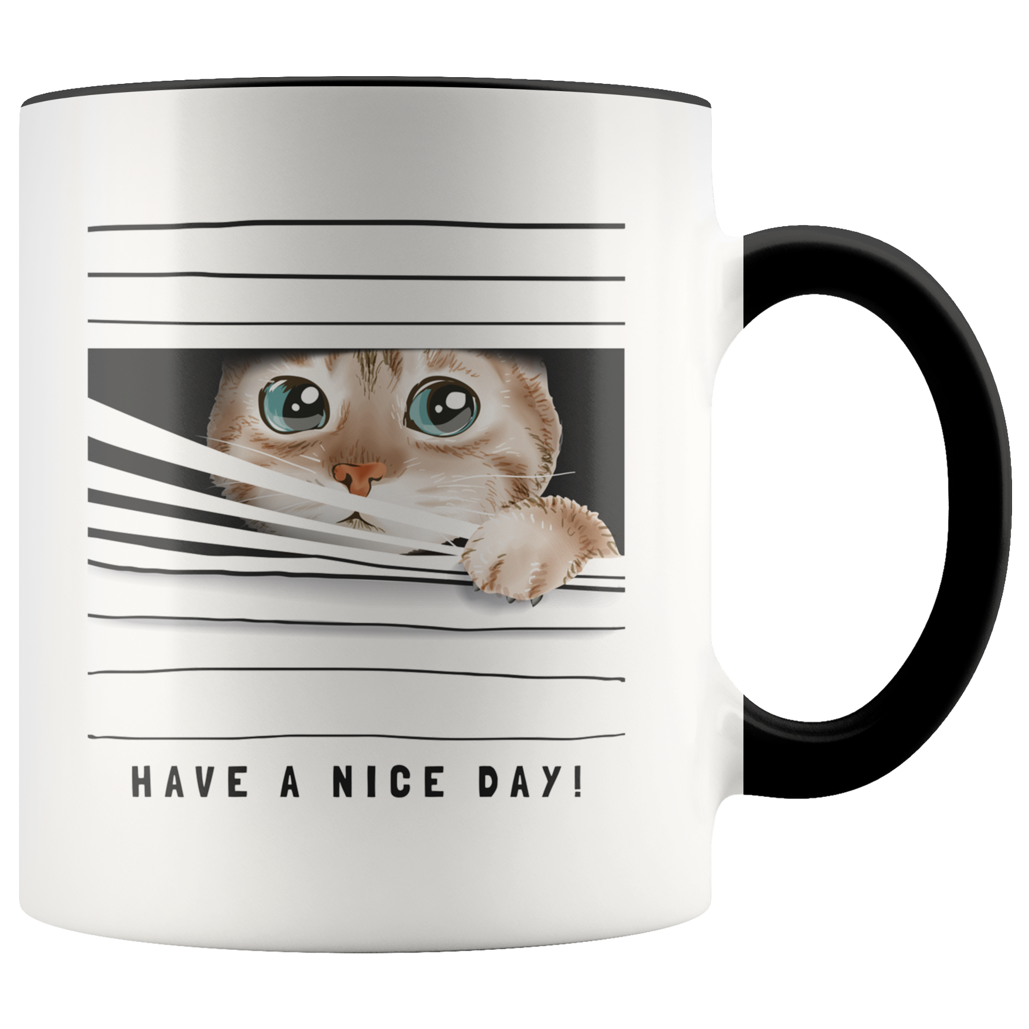 Cute Peeking Cat Mug – Have A Nice Day!