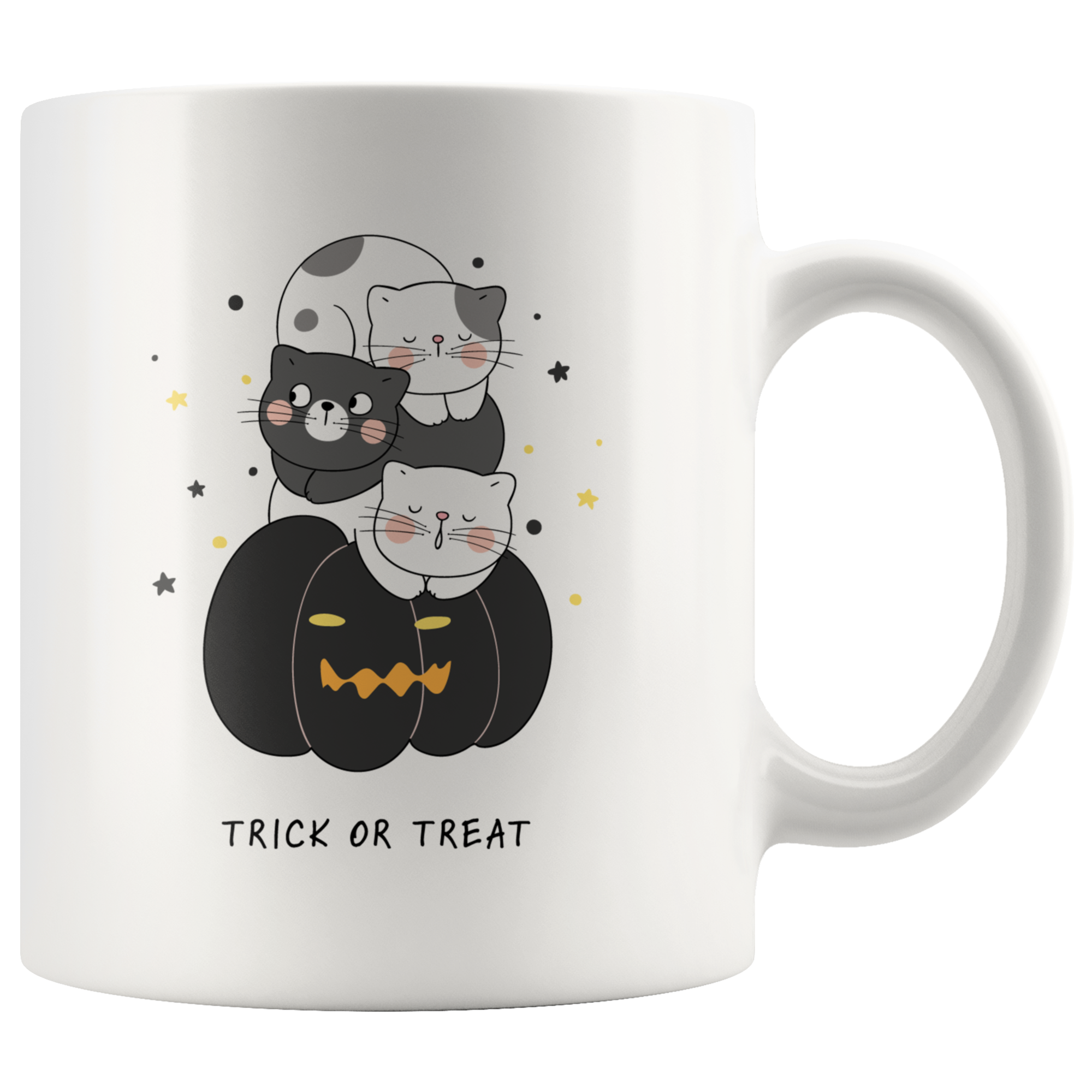 Trick Or Treat Cute Halloween Cats Sitting On A Jack-O-Lantern Pumpkin Mug (11oz)