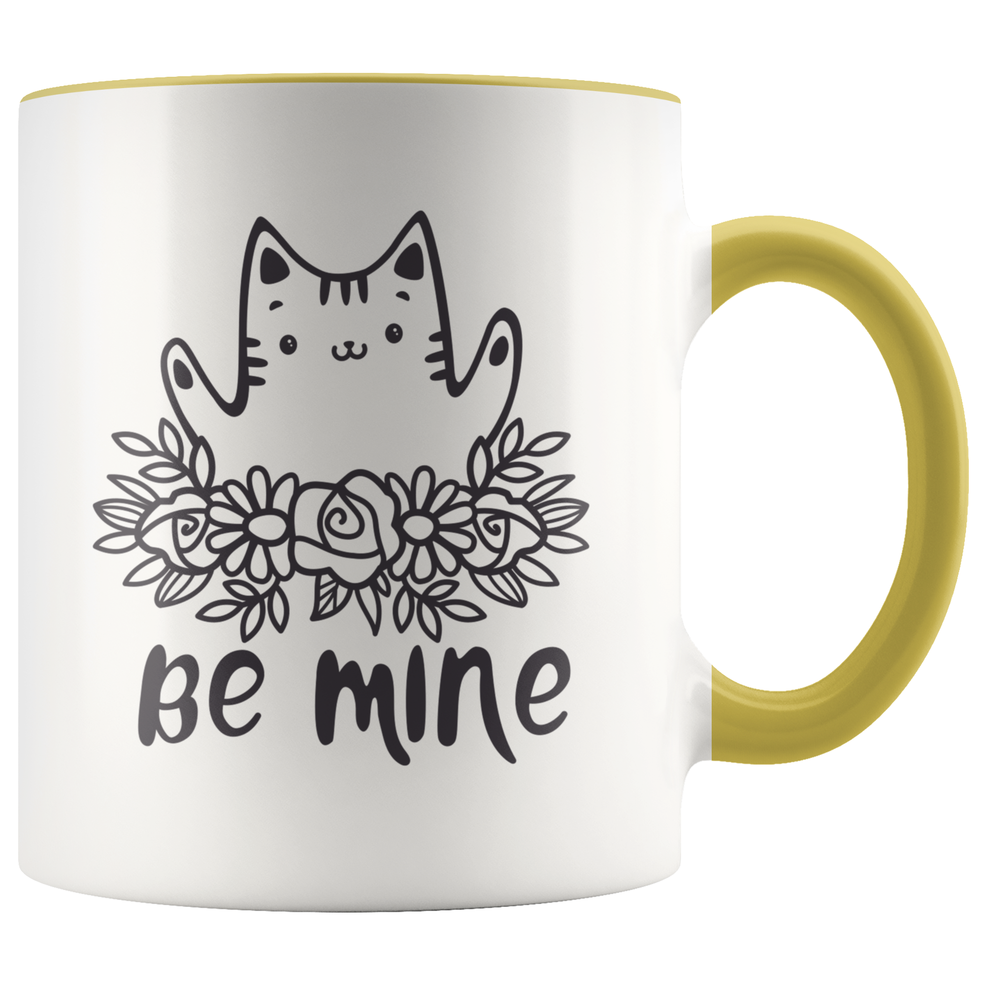 Be Mine Cute Kitten In Flower Wreath Kawaii Cat Mug