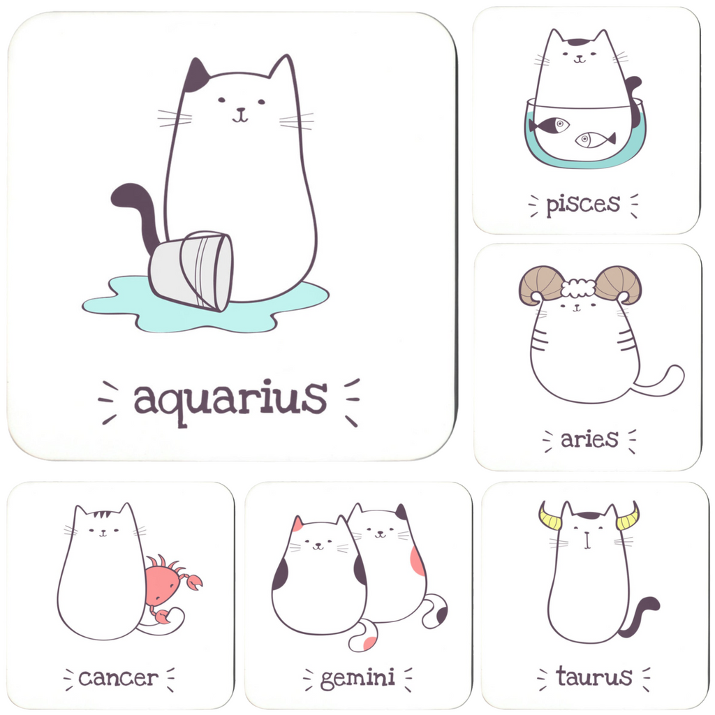 Zodiac Cat Horoscope Signs Coasters (Set Of 6)