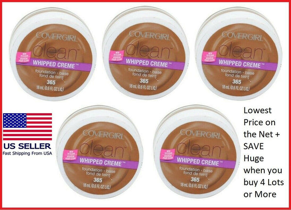 >>5 PACK<<CoverGirl Clean Whipped Creme Foundation #365 Tawny