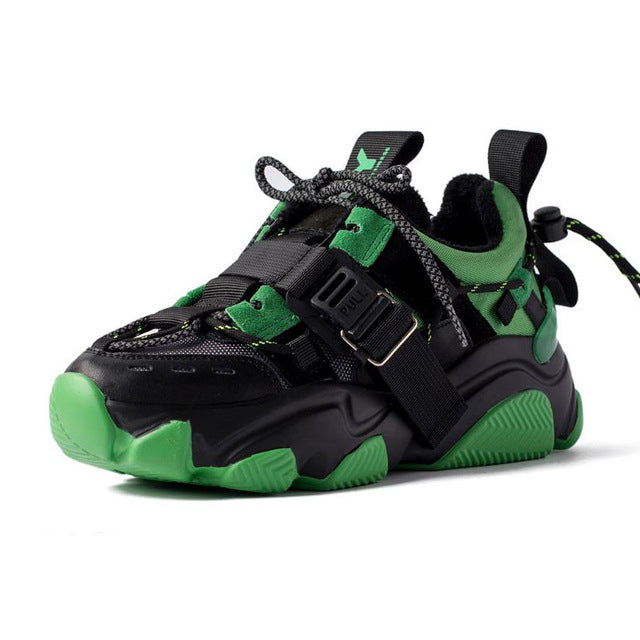 Children Breathable Mesh Up Thick Sole Flat Platform Chunky Sneakers Dad Shoes Green-34