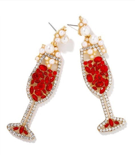 Champagne Petillant Red Earrings