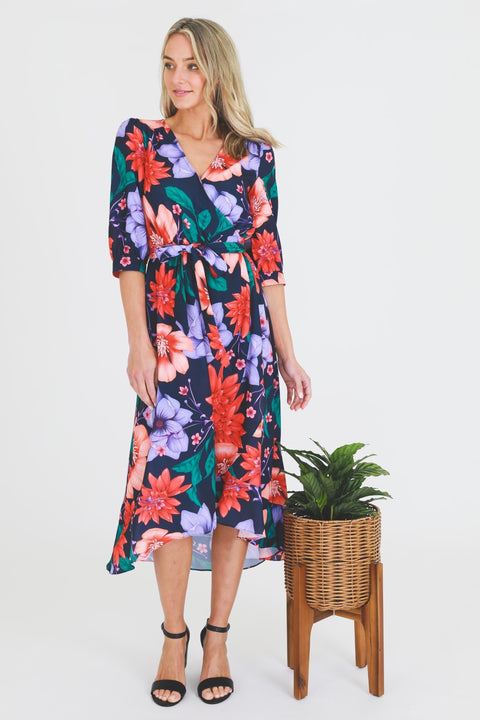 Autumn Floral Wrap Dress