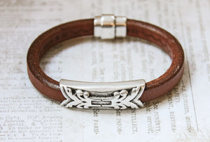 Mens Licorice Leather Bracelet in Brown
