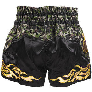 D.E Fit Special Muay Thai Shorts - Camo/Gold - Fightstore Pro