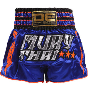 D.E Fit Special Muay Thai Shorts - Blue/Silver - Fightstore Pro